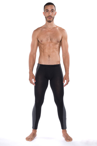 Go Softwear B2E Tights 3373-BL Black - Mens Long Underwear - Front View - Topdrawers Underwear for Men