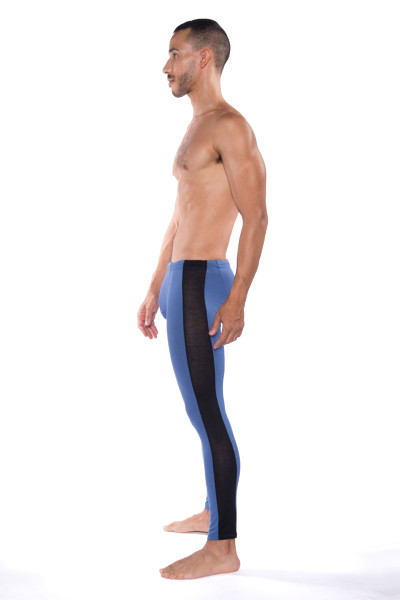 Go Softwear B2E Tights 3373-DE Denim - Mens Long Underwear - Side View - Topdrawers Underwear for Men