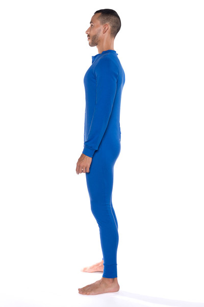Go Softwear Lumber Jack Union Suit 4796-ROY Royal Blue - Mens Long Underwear - Side View - Topdrawers Underwear for Men