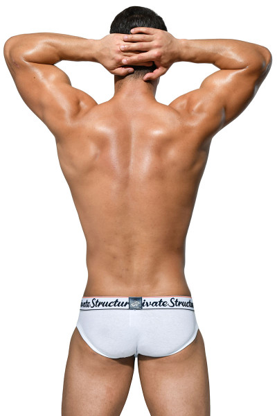 Private Structure Classic Mini Brief SCUX4069-WH White - Mens Briefs - Rear View - Topdrawers Underwear for Men