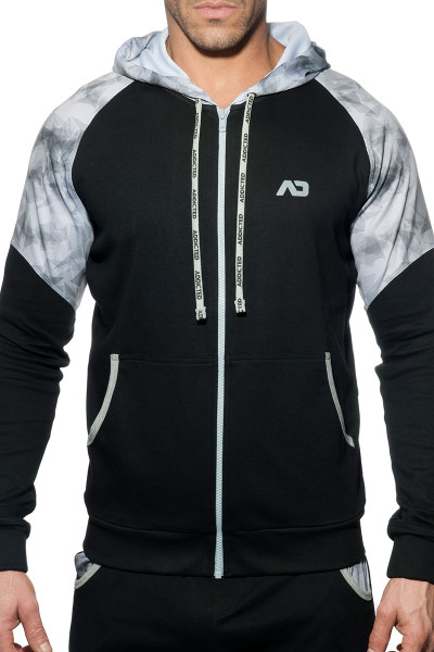 Addicted Geoback Sweatshirt AD615-10 Black - Mens Hoodies - Front View - Topdrawers Clothing for Men