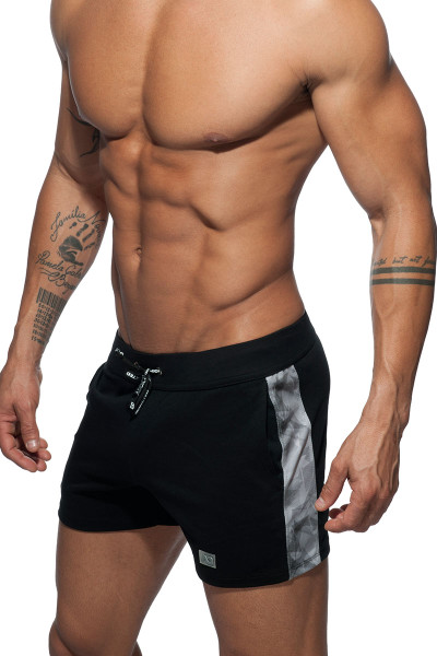Addicted Geoback Short AD613-10 Black - Mens Athletic Shorts - Side View - Topdrawers Clothing for Men