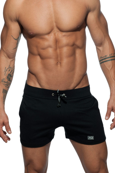 Addicted Geoback Short AD613-10 Black - Mens Athletic Shorts - Front View - Topdrawers Clothing for Men