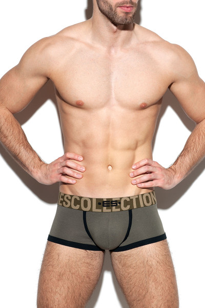 ES Collection Second Skin Bottomless Trunk UN313-12 Khaki - Mens Jock Boxers - Front View - Topdrawers Underwear for Men