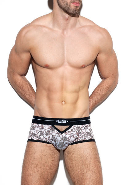 ES Collection Baroque Open Trunk UN325-28 Beige - Mens Boxer Briefs - Front View - Topdrawers Underwear for Men