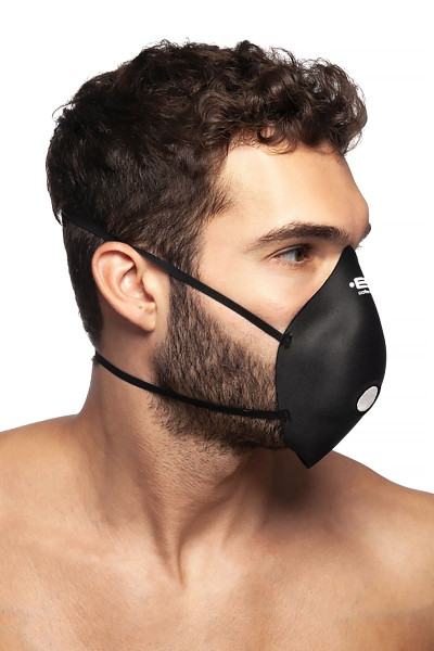 ES Collection Mask Up AC085-10 Black - Mens Reusable Face Masks - Side View - Topdrawers Protective Gear for Men