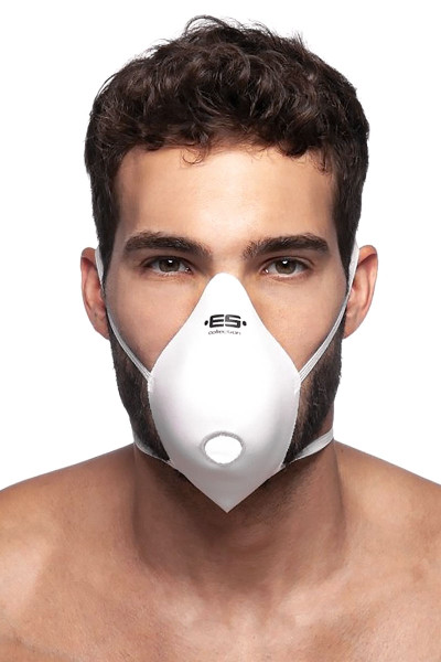 ES Collection Mask Up AC085-01 White - Mens Reusable Face Masks - Front View - Topdrawers Protective Gear for Men