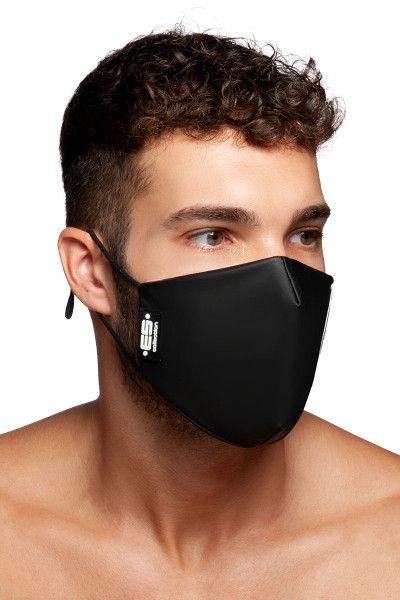 ES Collection Fetish Tape Mask AC119-10 Black - Mens Reusable Face Masks - Side View - Topdrawers Protective Gear for Men