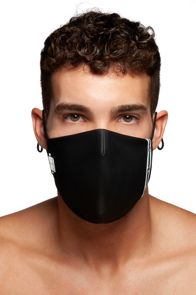 ES Collection Fetish Tape Mask AC119-10 Black - Mens Reusable Face Masks - Front View - Topdrawers Protective Gear for Men