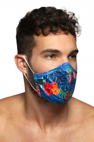 ES Collection Flowery Mask AC099-09 Navy Blue - Mens Reusable Face Masks - Side View - Topdrawers Protective Gear for Men