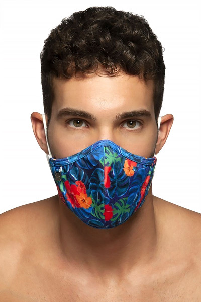 ES Collection Flowery Mask AC099-09 Navy Blue - Mens Reusable Face Masks - Front View - Topdrawers Protective Gear for Men