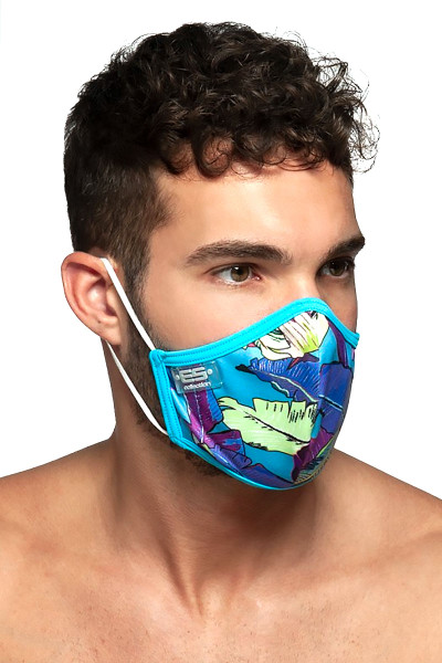 ES Collection Leaves Mask AC101-27 Peacock - Mens Reusable Face Masks - Side View - Topdrawers Protective Gear for Men