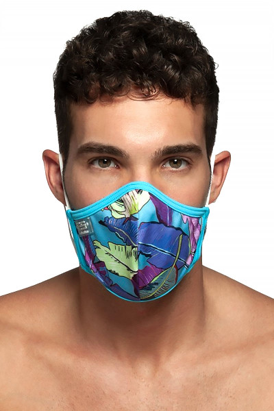 ES Collection Leaves Mask AC101-27 Peacock - Mens Reusable Face Masks - Front View - Topdrawers Protective Gear for Men