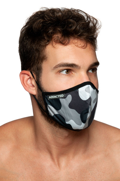 Addicted Camo Mask AC087-17M0 Camouflage - Mens Reusable Face Masks - Side View - Topdrawers Protective Gear for Men