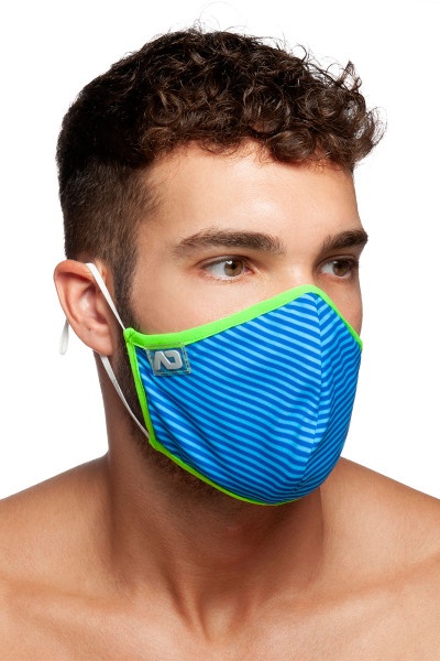 Addicted Stripes Combi Mask AC115-16 Royal Blue - Mens Reusable Face Masks - Side View - Topdrawers Protective Gear for Men