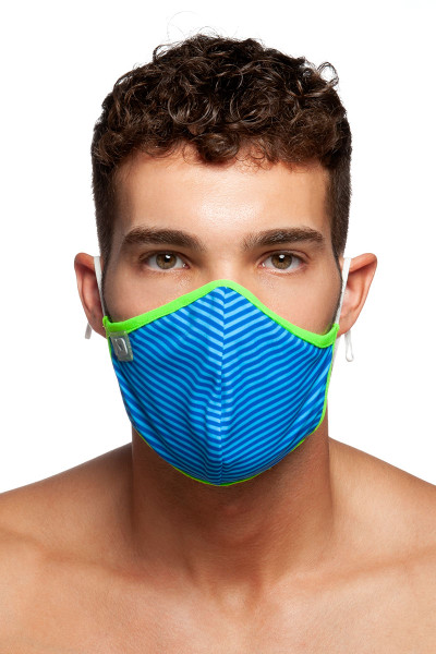 Addicted Stripes Combi Mask AC115-16 Royal Blue - Mens Reusable Face Masks - Front View - Topdrawers Protective Gear for Men
