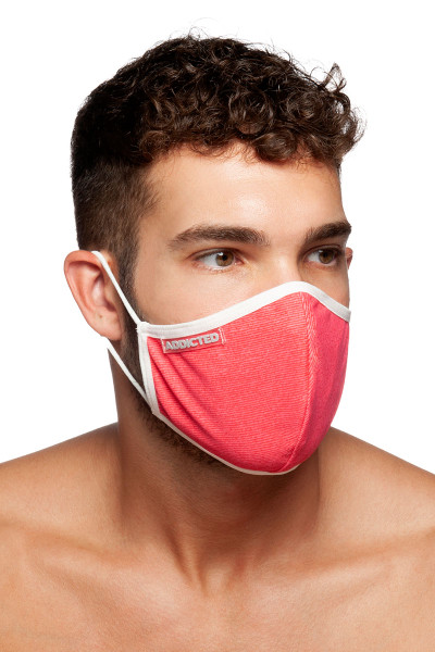 Addicted Red Stripes Mask AC113-01 White - Mens Reusable Face Masks - Side View - Topdrawers Protective Gear for Men