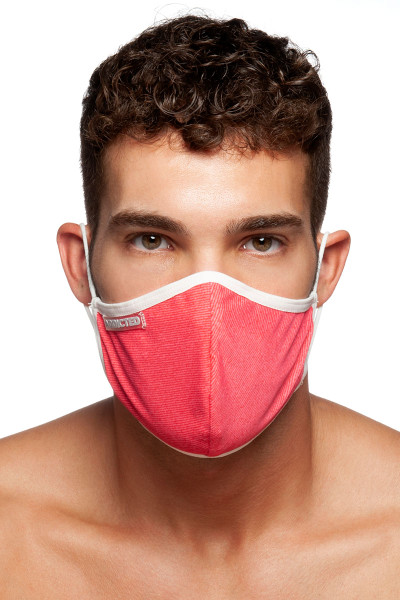 Addicted Red Stripes Mask AC113-01 White - Mens Reusable Face Masks - Front View - Topdrawers Protective Gear for Men