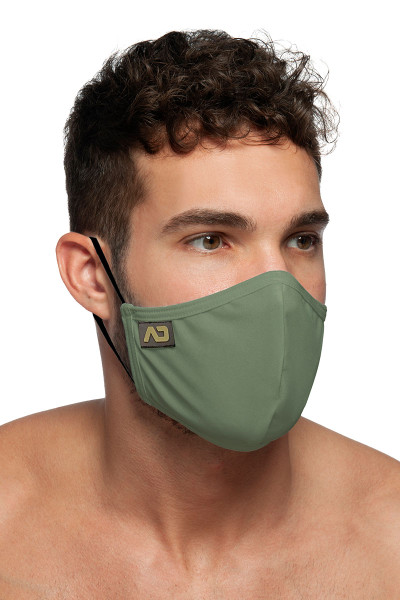 Addicted Shiny Mask AC108-12 Khaki - Mens Reusable Face Masks - Side View - Topdrawers Protective Gear for Men
