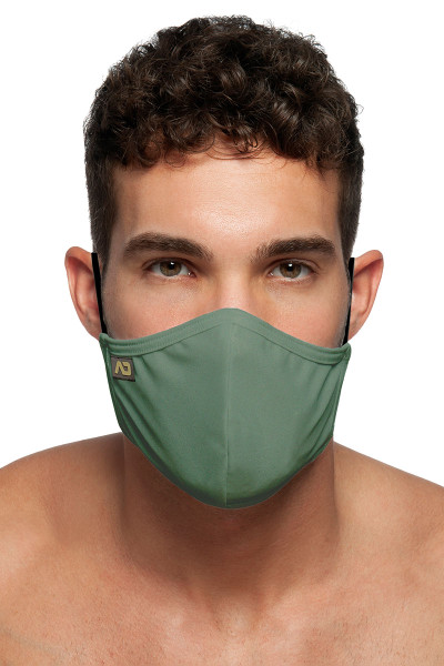 Addicted Shiny Mask AC108-12 Khaki - Mens Reusable Face Masks - Front View - Topdrawers Protective Gear for Men
