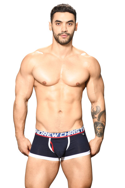 Andrew Christian Fly Tagless Boxer Almost Naked 91741-NV Navy Blue  - Mens Boxer Briefs - Front View - Topdrawers Underwear for Men