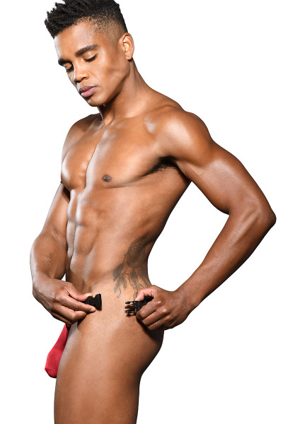 Andrew Christian Scarlet Sheer Buckle Thong Almost Naked 91907 - Mens Thongs - Side View - Topdrawers Underwear for Men