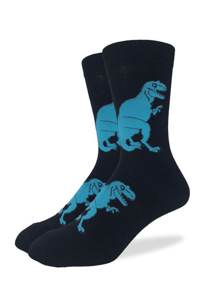 Good Luck Sock Black T-Rex Dinosaur Crew Sock 1131 - Mens Socks - Front View - Topdrawers Underwear for Men