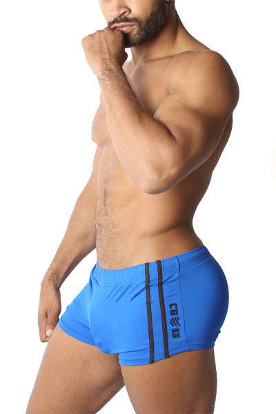 CellBlock 13 Cyclone 2.0 Short w/ Cock Pouch CBS223-BU Blue - Mens Athletic Shorts - Side View - Topdrawers Clothing for Men