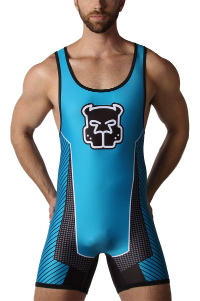 CellBlock 13 Kennel Club Scout Zipper Singlet CBS212-TQ Turquoise - Mens Fetish Wrestler Singlets - Front View - Topdrawers Underwear for Men