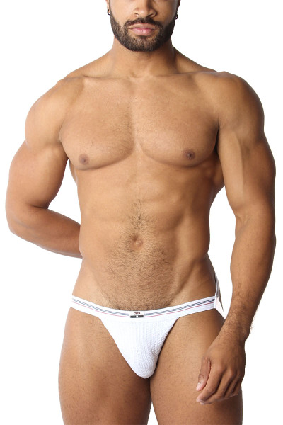 CellBlock 13 Tight End Swimmer Jockstrap CBU270-WH White - Mens Jockstraps - Front View - Topdrawers Underwear for Men