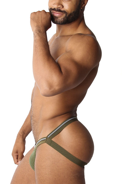 CellBlock 13 Tight End Swimmer Jockstrap CBU270-AR Army - Mens Jockstraps - Side View - Topdrawers Underwear for Men