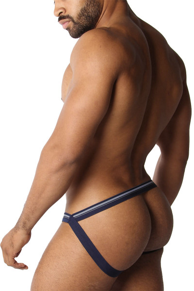 CellBlock 13 Tight End Swimmer Jockstrap CBU270-NV Navy Blue - Mens Jockstraps - Side View - Topdrawers Underwear for Men