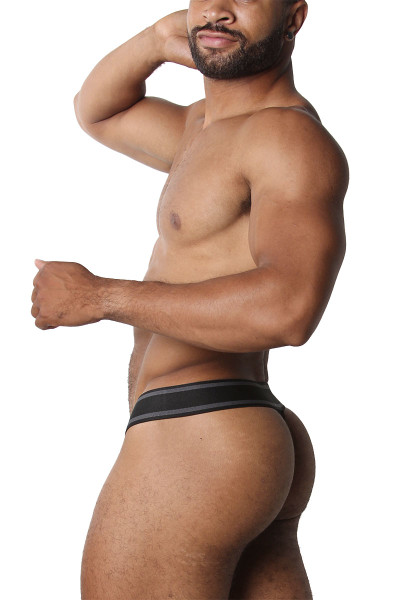 CellBlock 13 Relay Mesh Thong CBU226-BL Black - Mens Thongs - Side View - Topdrawers Underwear for Men