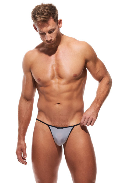 Gregg Homme Voyeur String 100614-SV Silver - Mens G-String Thongs - Front View - Topdrawers Underwear for Men