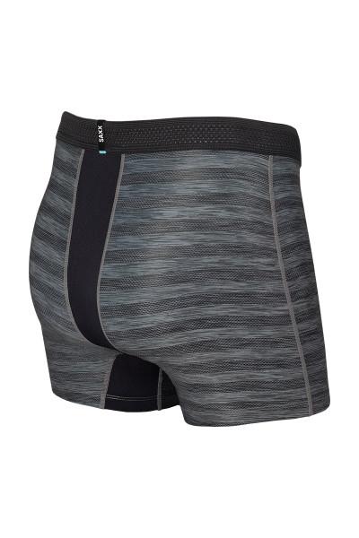 Saxx Hot Shot Boxer Brief w/ Fly | Black Heather SXBB09F-BLH - Mens Boxer Briefs - Rear View - Topdrawers Underwear for Men