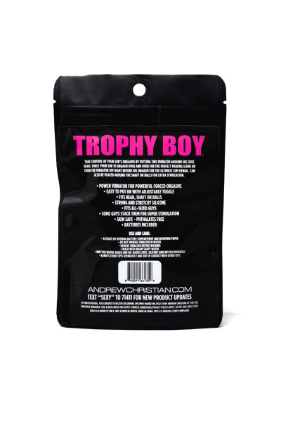 Andrew Christian Trophy Boy Forced Orgasm Cock Head Vibrator 8535 - Mens Sexy Accessories - Front View - Topdrawers Accessories for Men