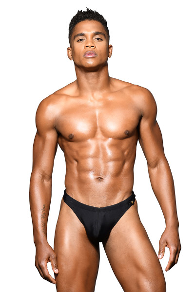 Andrew Christian San Tropez Swim Thong Almost Naked 7807-BL Black - Mens Swim Thong Swimsuits - Front View - Topdrawers Swimwear for Men