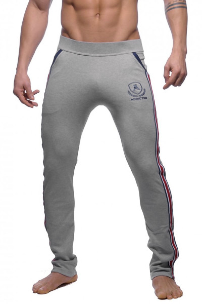 Addicted Long Tight Pant Intercotton AD335-11 Heather Grey - Mens Athletic Pants - Front View - Topdrawers Clothing for Men