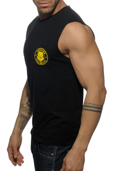 Addicted Society Bears Pocket Tank Top AD571-10 Black - Mens Tank Tops - Side View - Topdrawers Clothing for Men
