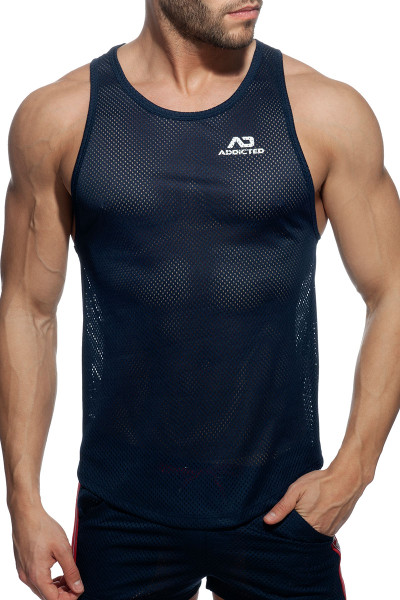 Addicted Waistband Mesh Tank Top AD928-09 Navy Blue - Mens Tank Tops - Front View - Topdrawers Clothing for Men