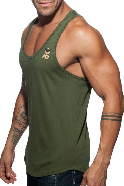 Addicted Fetish Military Tank Top AD611-12 Khaki - Mens Tank Tops - Side View - Topdrawers Clothing for Men