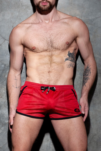 Addicted Fetish Short Kangoo Colour Code ADF126-06 Red - Mens Fetish Shorts - Front View - Topdrawers Clothing for Men
