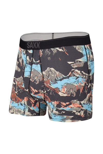 Saxx Quest Boxer Brief w/ Fly | Black Mountainscape SXBB70F-MOB - Mens Boxer Briefs - Front View - Topdrawers Underwear for Men