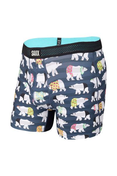 Saxx Hot Shot Boxer Brief w/ Fly | Navy Polarbear Resortwear SXBB09F-PBR - Mens Boxer Briefs - Front View - Topdrawers Underwear for Men