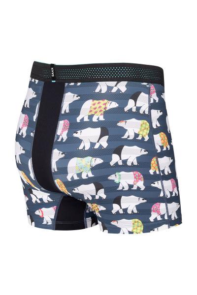 Saxx Hot Shot Boxer Brief w/ Fly | Navy Polarbear Resortwear SXBB09F-PBR - Mens Boxer Briefs - Rear View - Topdrawers Underwear for Men