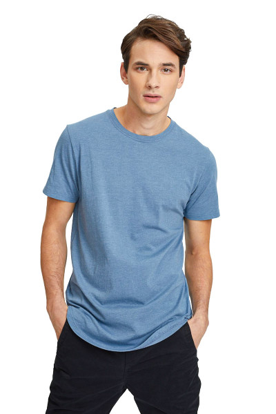 Kuwalla Tee Eazy Scoop Tee KUL-CT1851 Blue Stone - Mens T-Shirts - Front View - Topdrawers Clothing for Men