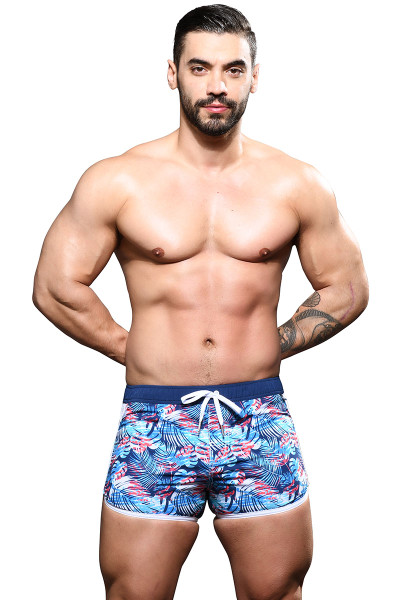 Andrew Christian Palm Colony Swim Shorts 7852 - Mens Swim Shorts - Front View - Topdrawers Swimwear for Men