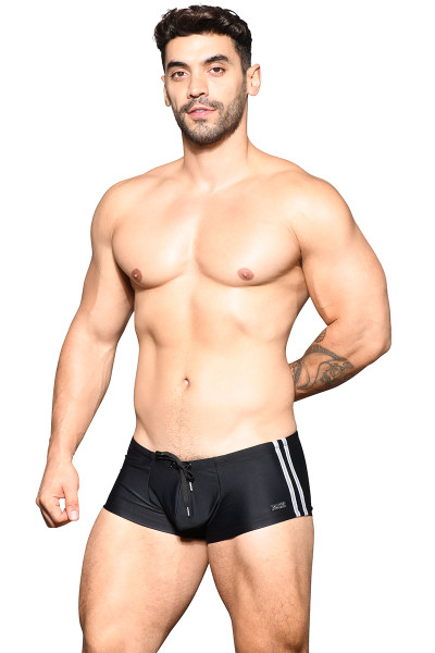 Andrew Christian Beach Club Swim Trunk w/ Logo Charm 7832-BL Black - Mens Swim Trunks - Front View - Topdrawers Swimwear for Men
