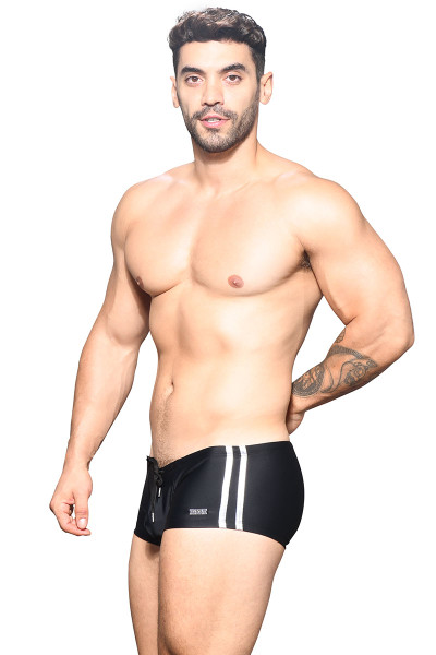 Andrew Christian Beach Club Swim Trunk w/ Logo Charm 7832-BL Black - Mens Swim Trunks - Side View - Topdrawers Swimwear for Men