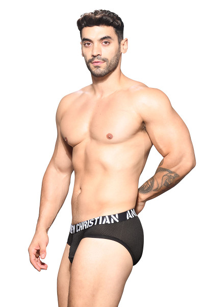 Andrew Christian Rebel Mesh Brief w/ Show-It 91950 - Mens Briefs - Side View - Topdrawers Underwear for Men